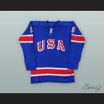 Tim Sheehy 15 USA National Team Blue Hockey Jersey