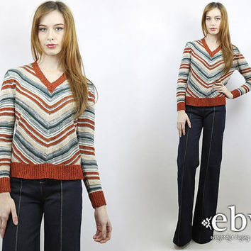Chevron Sweater Rust Sweater Striped Sweater 70s Sweater 1970s Sweater Hippie Sweater Hippy Sweater Brown Sweater VNeck Sweater