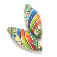 2 Polymer Clay beads in rainbow colors, unique stripes beads with touches of gold, colorful leaf shaped beads for Jewelry Making
