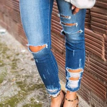 Winter Park Distressed Skinny in Medium Blue