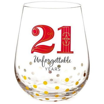 Hallmark 21 Unforgettable Years Stemless Wine Glass