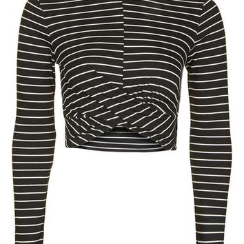 Stripe Long Sleeve Twist Front Crop Top - Tops - Clothing
