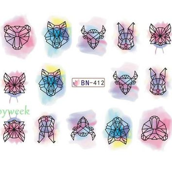 Water sticker for nail art decoration slider watercolor ink cattle tiger rabbit nail design decal manicure lacquer accessoires 7