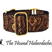 Gold and Black Brocade Martingale Collar (1.5 Inch), Dog Collar, Greyhound Collar, Custom Dog Collars