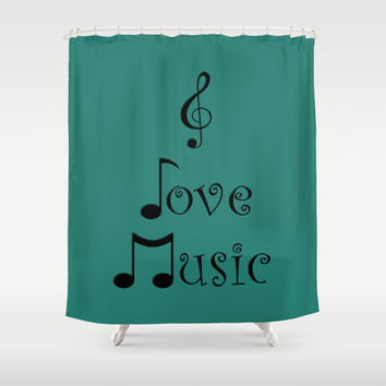 I Love Music - Tribal Teal Shower Curtain by Moonshine Paradise