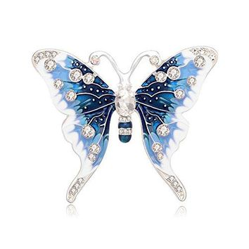 PANGRUI Exquisite Design Silver Tone Clear Crystal Rhinestone Butterfly Insect Brooch Pin