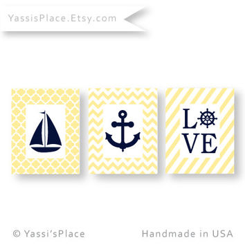 Navy and Yellow Nautical Nursery, Coastal Decor, Sailboat Art Print, set of 3, beach decor, boy wall art, girl art print by YassisPlace