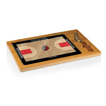 Portland Trailblazers - 'Icon' Glass Top Serving Tray & Knife Set by Picnic Time (Basketball Design)