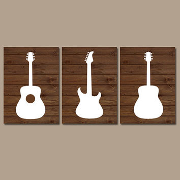 GUITAR Wall Art Boy Nursery Artwork Child Wood Effect Brown White Custom Choose Colors Set of 3 Trio Prints Baby Decor Bedroom Three