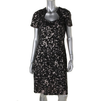 Kay Unger Womens Lace Short Sleeves Cocktail Dress