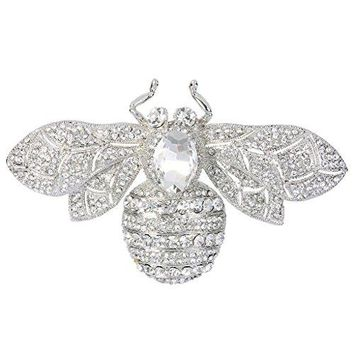 EVER FAITH Rhinestone Crystal Honeybee Insect Brooch
