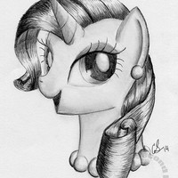 "Rarity Pearls Portrait Graphite Art Print My Little Pony Traditional Art  (8.5"" x 11"" )"
