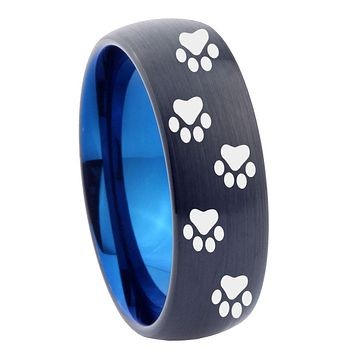 10mm Paw Print Design Dome Tungsten Carbide Blue Mens Promise Ring