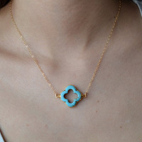 Turquoise Quatrefoil Clover Necklace, 24K Gold Edged, 14K Gold Fill Chain, Feminine, Eye Catching, Beautiful  Necklace