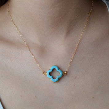 Turquoise Clover Quatrefoil Necklace 24K Gold by WonderfulJewelry