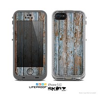 The Wood Planks with Peeled Blue Paint Skin for the Apple iPhone 5c LifeProof Case