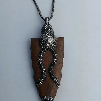 Lion Arrowhead Statement Pendant Necklace