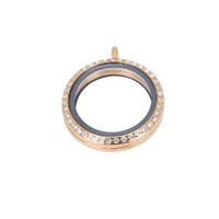 Yellow Gold Floating Locket With Clear Crystals - (large - 33mm)