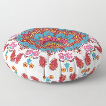 Colourful Indian Flower Patterned Mandala Red Pink & Blue Floor Pillow by inspiredimages