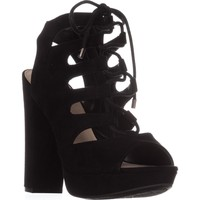 B35 Nelly Platform Gladiator Sandals, Black, 5.5 US