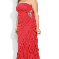 Plus Size Strapless Long