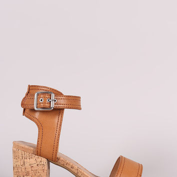 Bamboo One Band Ankle Strap Cork Block Heel