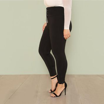 Plus Size Black  High Waist Cropped Stretchy Tapered Solid Pants