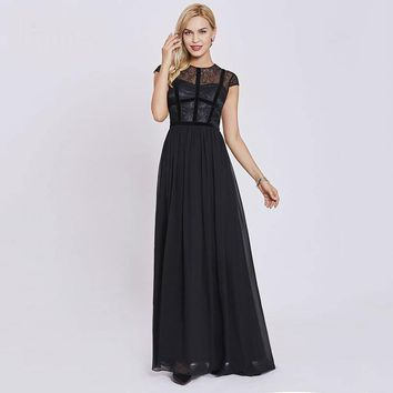 Lace long evening dresses black scoop cap sleeves floor length a line gown  women party formal evening dress