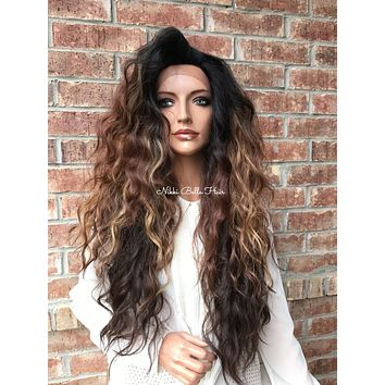 Brown Auburn Ombre' Wavy Hair Swiss Lace Front Wig - Dixon