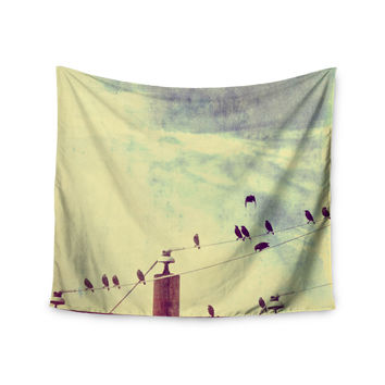 "Sylvia Coomes ""Vintage Birds On A Wire 1"" Brown Vintage Wall Tapestry"