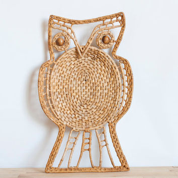 Vintage Woven Owl Wall Hanging, Natural Grass Bird, Bohemian Woodland Decor
