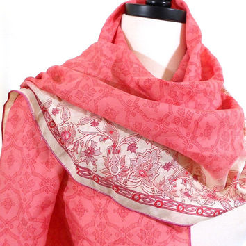 Light Pink and White Silk Scarf