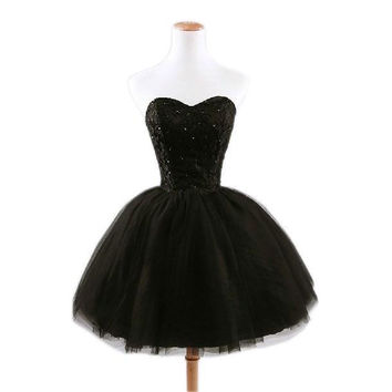 Cheap Short Prom Dresses 2015 Sweetheart Corset Ball Gowns with Lace Beaded Party Dresses for Wedding/Events vestido de festa