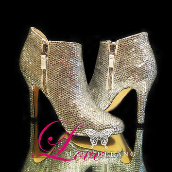 Wedding Shoes, Clear Crystal Luxury Genuine Leather Ankle Boots, Sparkling Shoes, Custom Design Shoes