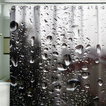 Bath Shower Curtain rain shower splashes drops splash sputter B&W