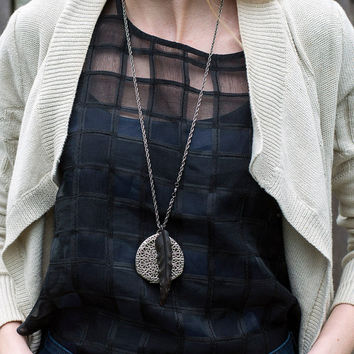 Silver Locket Black Feather Necklace, Black Bird Necklace, Large Feather Locket, Statement Necklace, Filigree Locket Floral, Boho Necklace