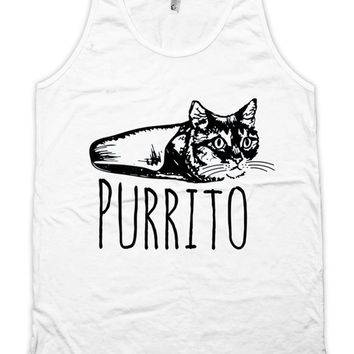 Funny Cat Tank Purrito Cat Clothing Mexican Food Kitten Top Kitty Clothes Cat Gifts American Apparel Tanks For Her Ladies Unisex Tank WT-316
