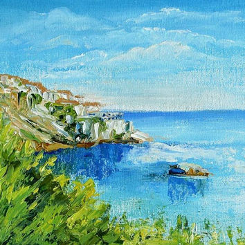 Fine Art -Oil Painting on Canvas - TEXTURED Painting - Hand Painted Home Decor - Montenegro - Ulcinj - etude - impression