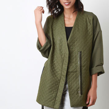 Quilted Belted Woven Jacket