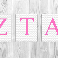 ANY COLOR Custom Sorority Greek Letters - Set of 3 8x10 Prints Chevron - Alpha Chi Omega, Zeta, Tri Delta Sigma, Alpha Delta Pi