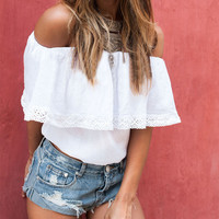 White Lace Off-shoulder Cropped Top