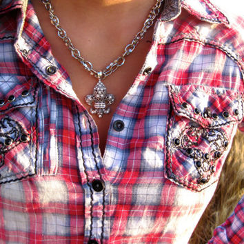 Cowgirl necklace bling silver country girl fleur by BlingBangBoom