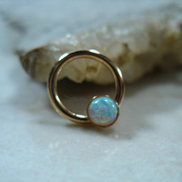 Septum & Nipple Ring Gold White Fire Opal