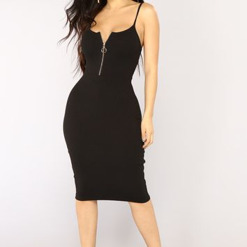 Slow Love Midi Dress - Black