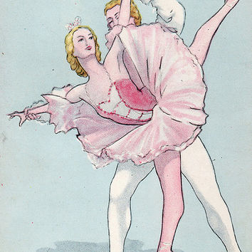 Ballet «Sleeping Beauty» - Aurora and Désiré (Artist V. Vlasov) Vintage Postcard - Printed in the USSR, «Artist of the RSFSR», Moscow, 1959
