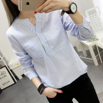 Women Blouses Shirt Female 2017 New Autumn Cotton Linen casual striped Long Sleeve Shirt Women Tops Ladies Clothing S-XL blusas