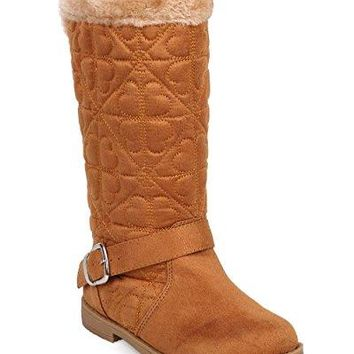 Girls DF09 Quilted Hearts Suede Fur Riding Winter Boot