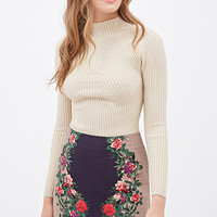 LOVE 21 Floral-Paneled Mini Skirt Navy/Mauve