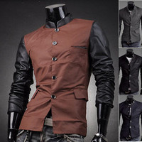 Jeansian Mens Slim Jacket Blazer Coat Shirts Top Outerwear 4 Colors 4 Sizes 8935