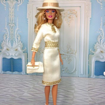 Barbie Doll Suit - Cream Doll Suit, Hat, Purse, Shoes, and Earrings with Decorative Gold Trim and Tan Accents.